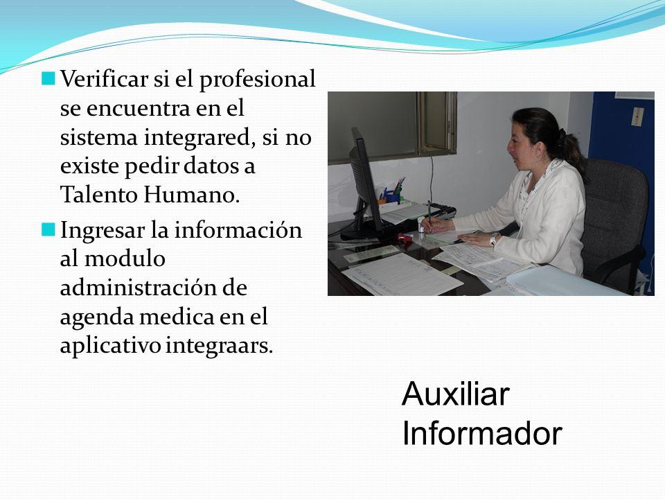 Verificar si el profesional se encuentra en el sistema integrared, si no existe pedir datos a Talento Humano.
