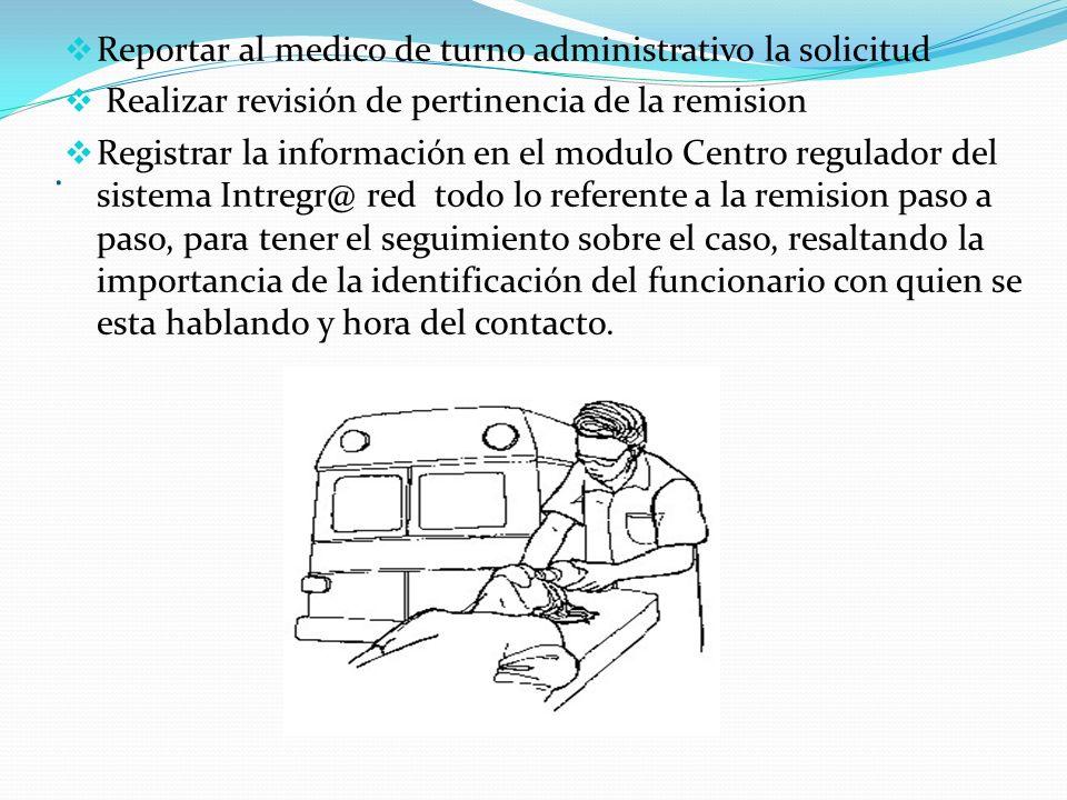 . Reportar al medico de turno administrativo la solicitud