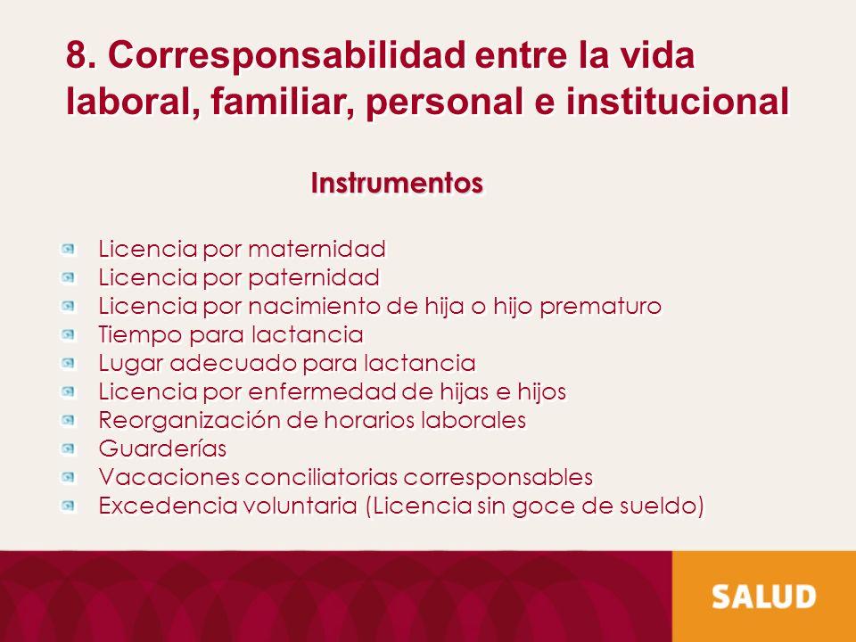 8. Corresponsabilidad entre la vida laboral, familiar, personal e institucional