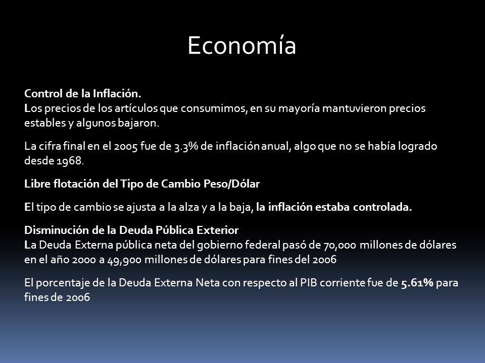 Economía Control de la Inflación. Los precios de los artículos que consumimos, en su mayoría mantuvieron precios estables y algunos bajaron.