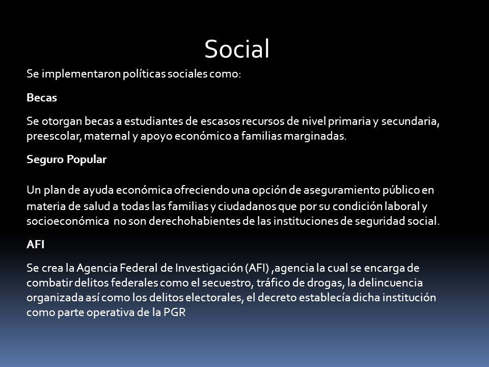 Social Se implementaron políticas sociales como: Becas.