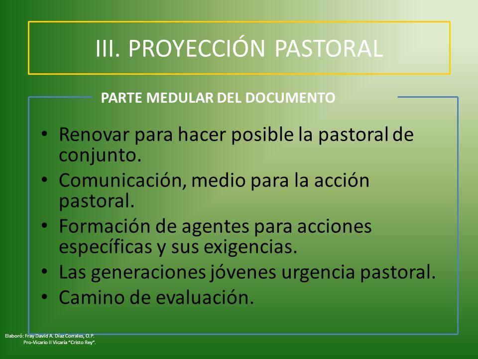 III. PROYECCIÓN PASTORAL