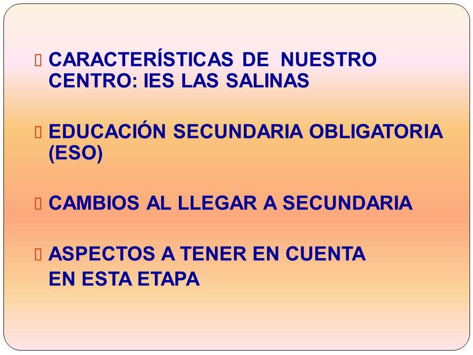 CARACTERÍSTICAS DE NUESTRO CENTRO: IES LAS SALINAS