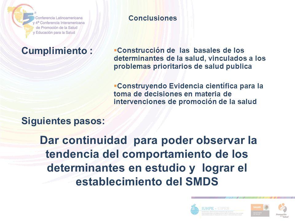 Conclusiones Cumplimiento : Construcción de las basales de los determinantes de la salud, vinculados a los problemas prioritarios de salud publica.