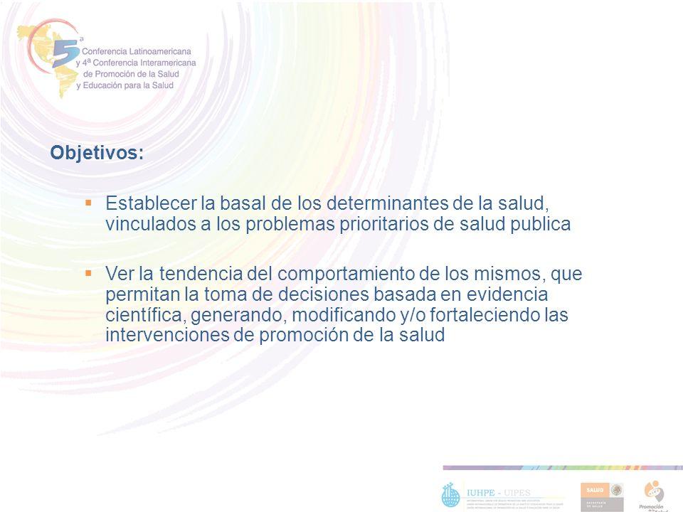 Objetivos: Establecer la basal de los determinantes de la salud, vinculados a los problemas prioritarios de salud publica.