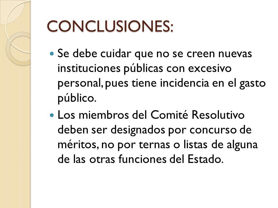 CONCLUSIONES: Se debe cuidar que no se creen nuevas instituciones públicas con excesivo personal, pues tiene incidencia en el gasto público.