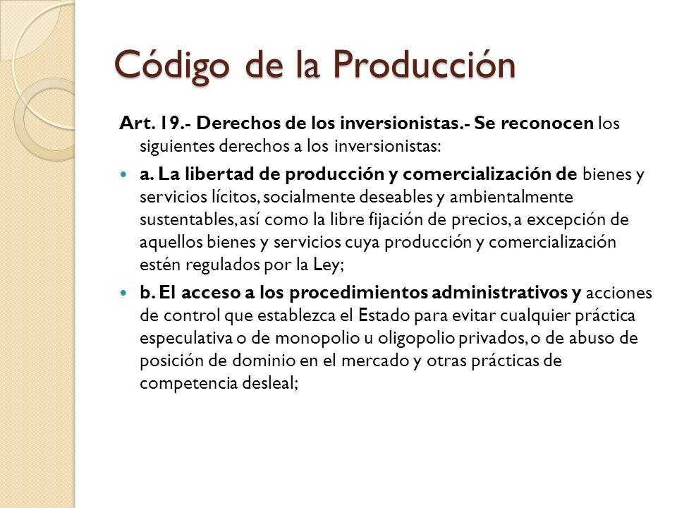 Código de la Producción