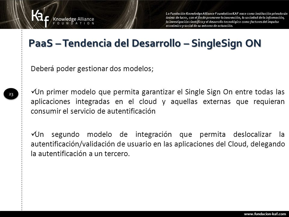 PaaS – Tendencia del Desarrollo – SingleSign ON