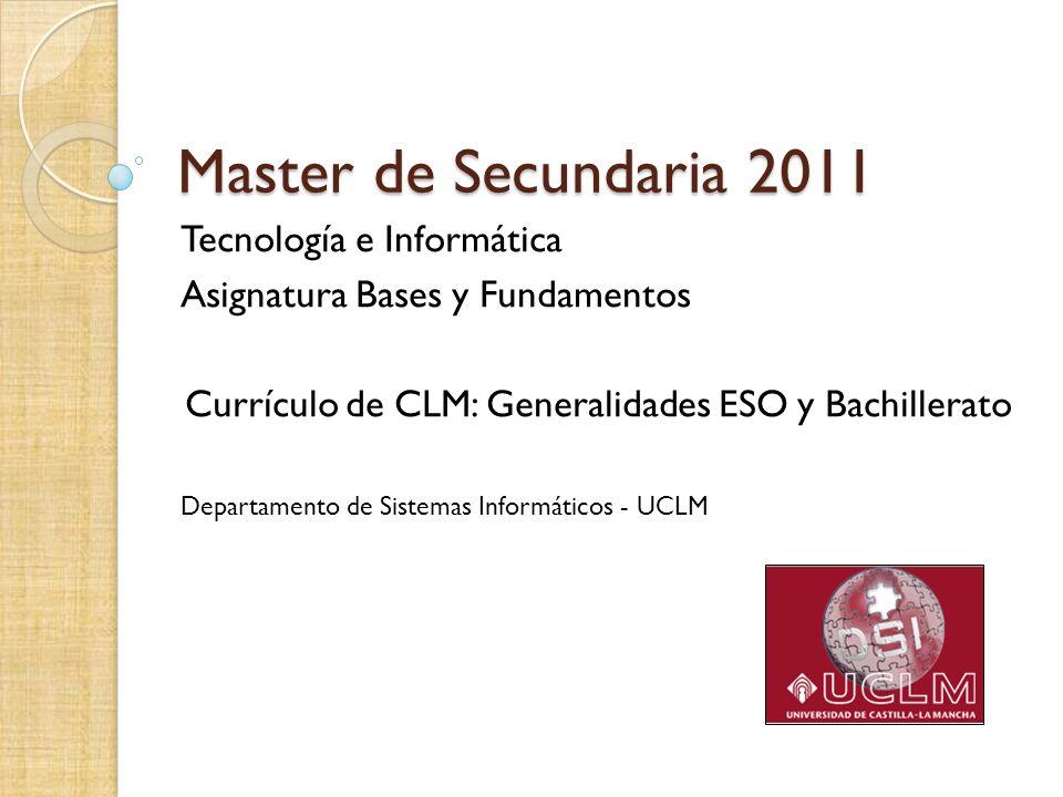 Currículo de CLM: Generalidades ESO y Bachillerato
