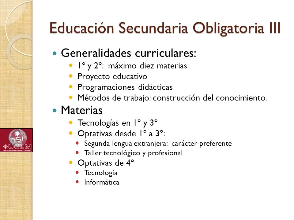 Educación Secundaria Obligatoria III