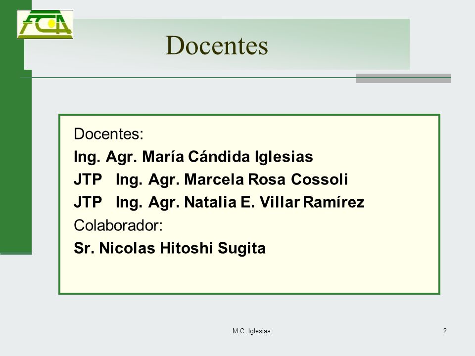 Docentes Docentes: Ing. Agr. María Cándida Iglesias