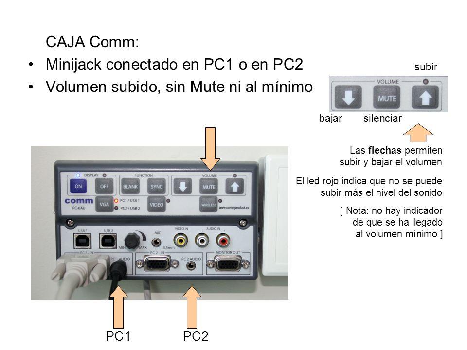 Minijack conectado en PC1 o en PC2