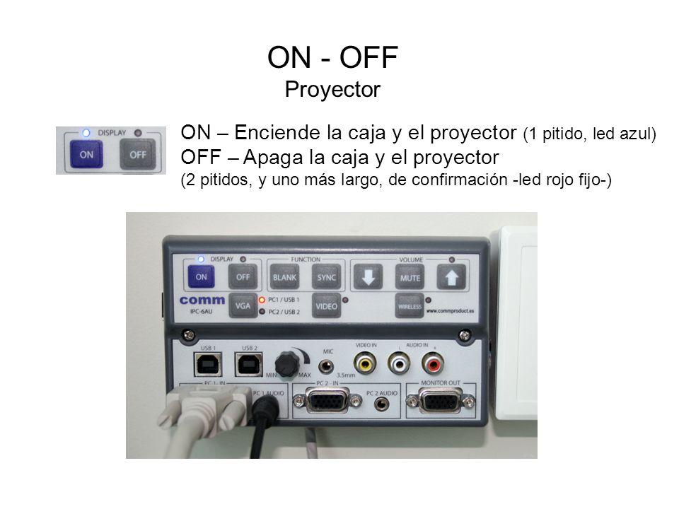 ON - OFF Proyector ON – Enciende la caja y el proyector (1 pitido, led azul) OFF – Apaga la caja y el proyector.