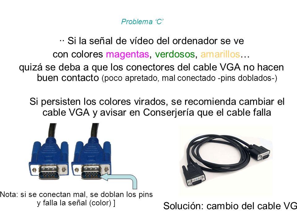 ·· Si la señal de vídeo del ordenador se ve