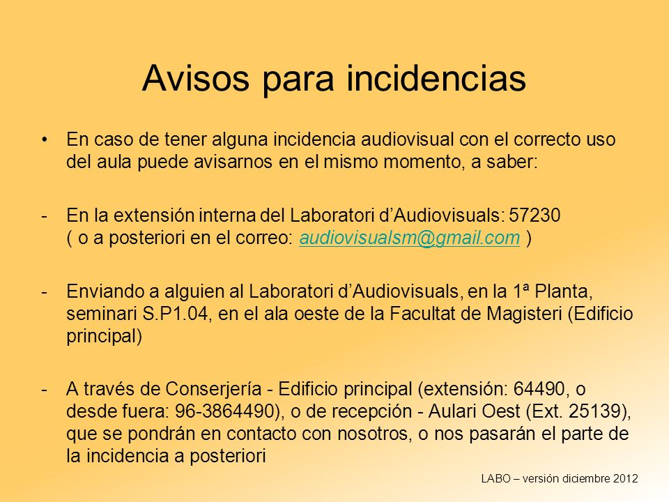 Avisos para incidencias