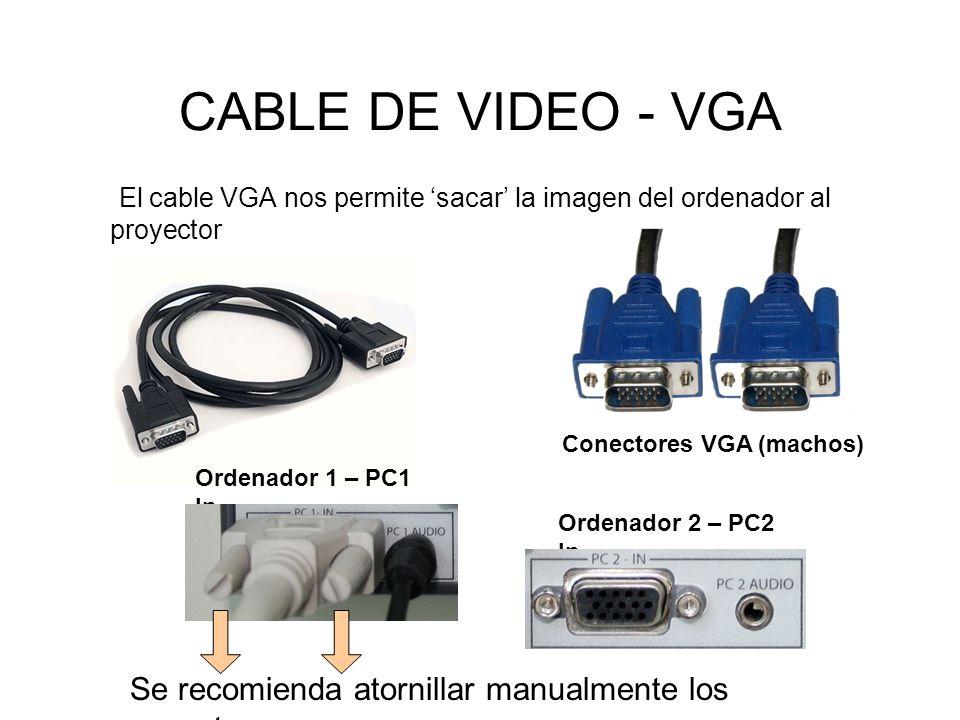 CABLE DE VIDEO - VGA El cable VGA nos permite 'sacar' la imagen del ordenador al proyector. y de ahí a la pantalla.