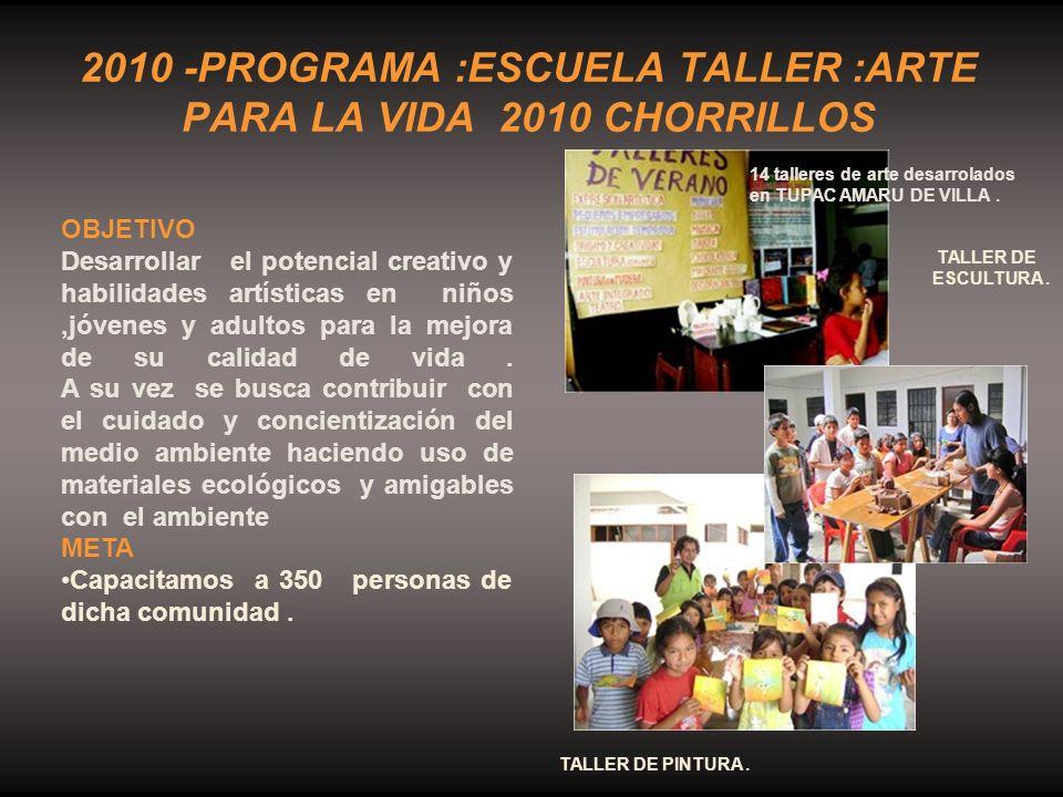 2010 -PROGRAMA :ESCUELA TALLER :ARTE PARA LA VIDA 2010 CHORRILLOS
