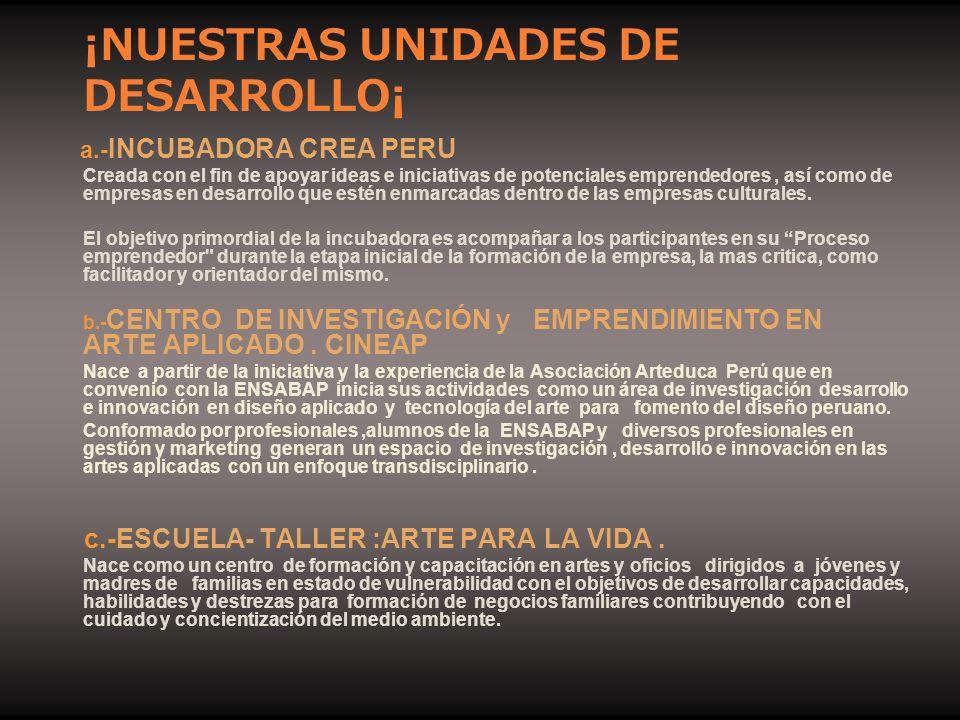 ¡NUESTRAS UNIDADES DE DESARROLLO¡