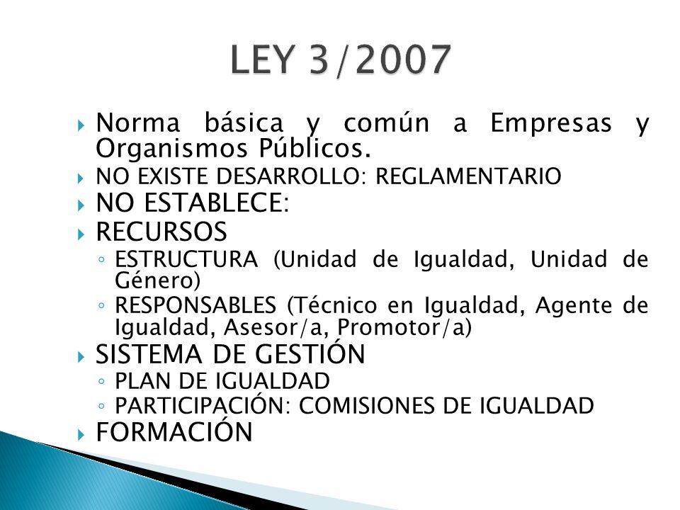 LEY 3/2007 Norma básica y común a Empresas y Organismos Públicos.