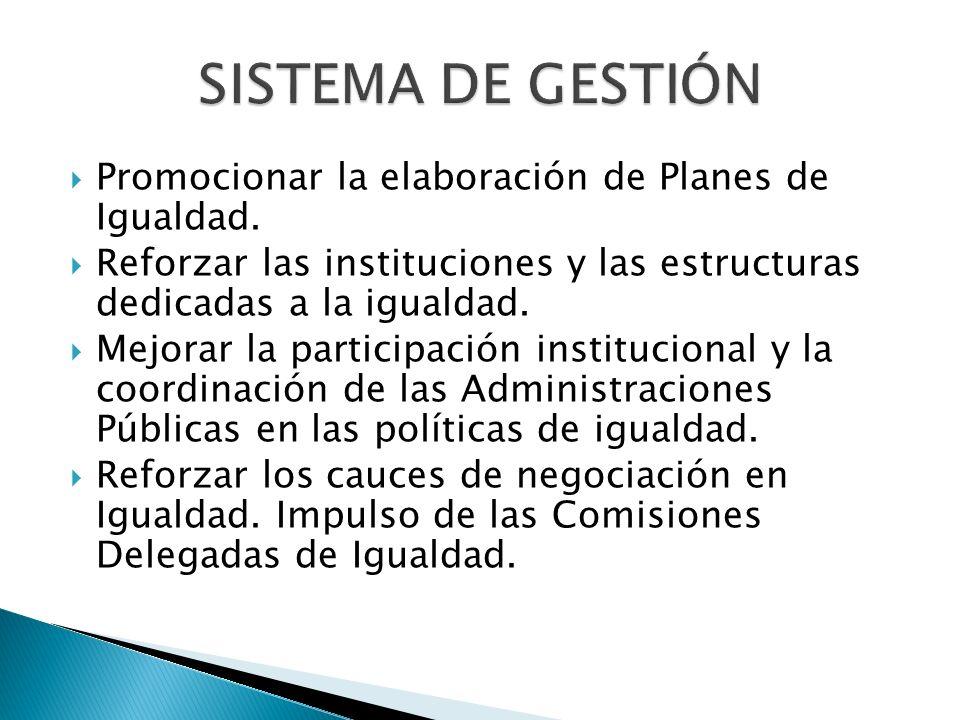 SISTEMA DE GESTIÓN Promocionar la elaboración de Planes de Igualdad.