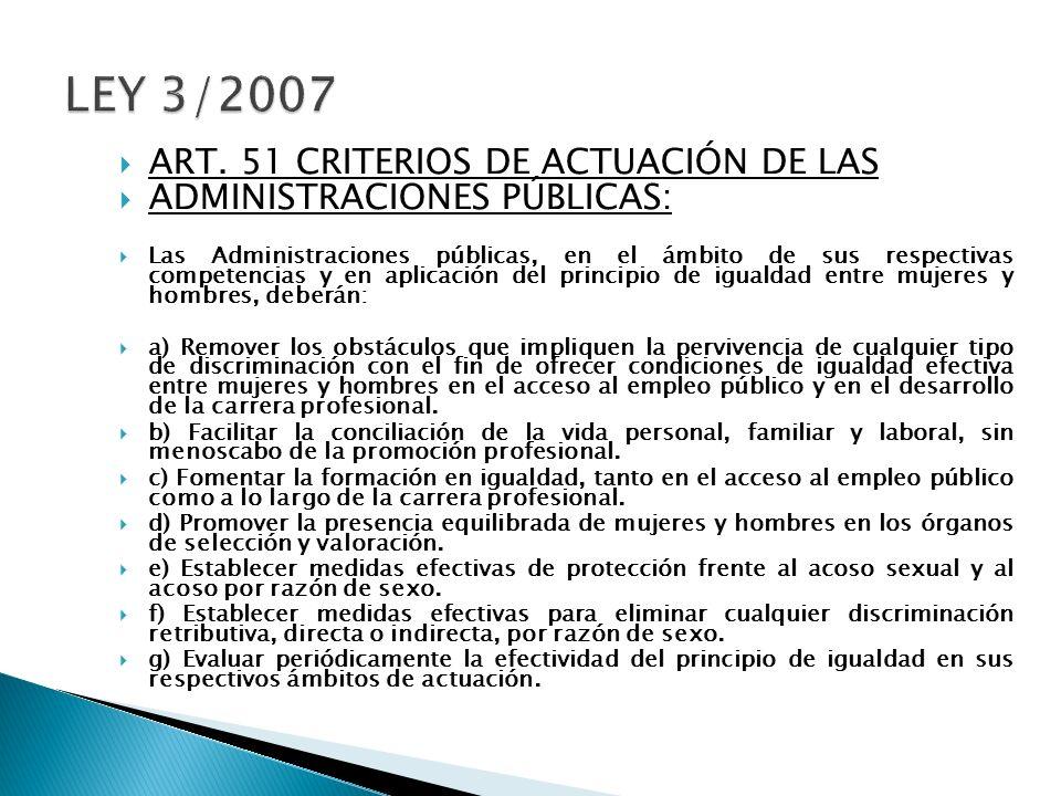 LEY 3/2007 ART. 51 CRITERIOS DE ACTUACIÓN DE LAS