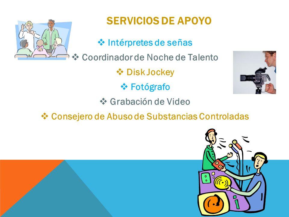 servicios de apoyo Intérpretes de señas