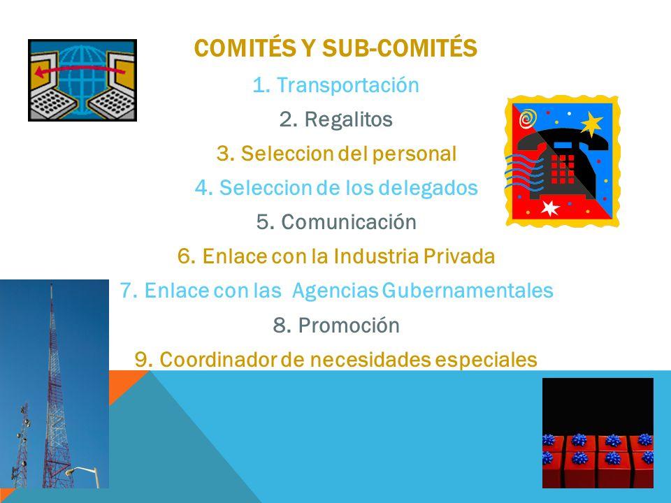 Comités y sub-comités Transportación Regalitos Seleccion del personal