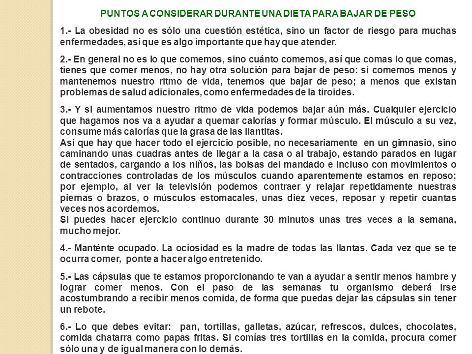 PUNTOS A CONSIDERAR DURANTE UNA DIETA PARA BAJAR DE PESO