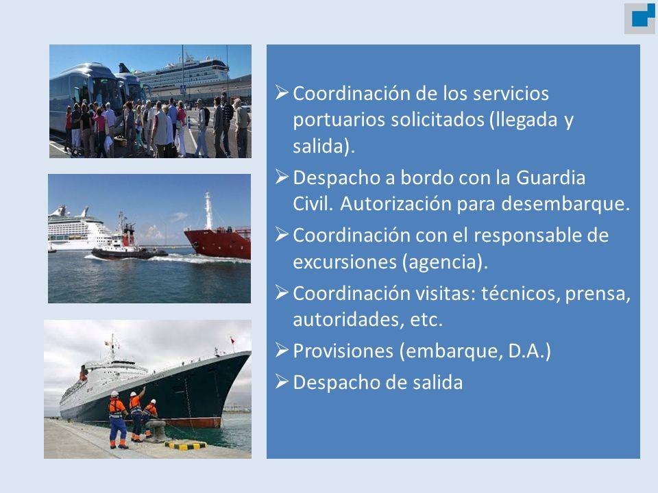 Coordinación de los servicios portuarios solicitados (llegada y salida).