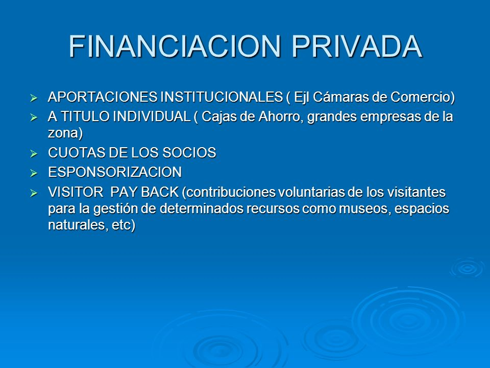 FINANCIACION PRIVADA APORTACIONES INSTITUCIONALES ( Ejl Cámaras de Comercio) A TITULO INDIVIDUAL ( Cajas de Ahorro, grandes empresas de la zona)