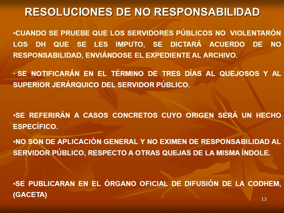 RESOLUCIONES DE NO RESPONSABILIDAD
