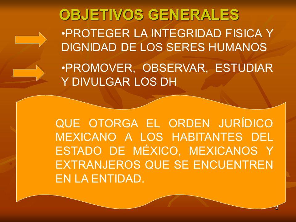 OBJETIVOS GENERALES PROTEGER LA INTEGRIDAD FISICA Y DIGNIDAD DE LOS SERES HUMANOS. PROMOVER, OBSERVAR, ESTUDIAR Y DIVULGAR LOS DH.