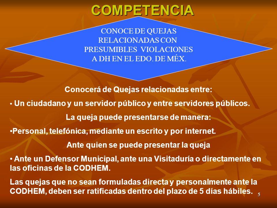 COMPETENCIA CONOCE DE QUEJAS RELACIONADAS CON PRESUMIBLES VIOLACIONES