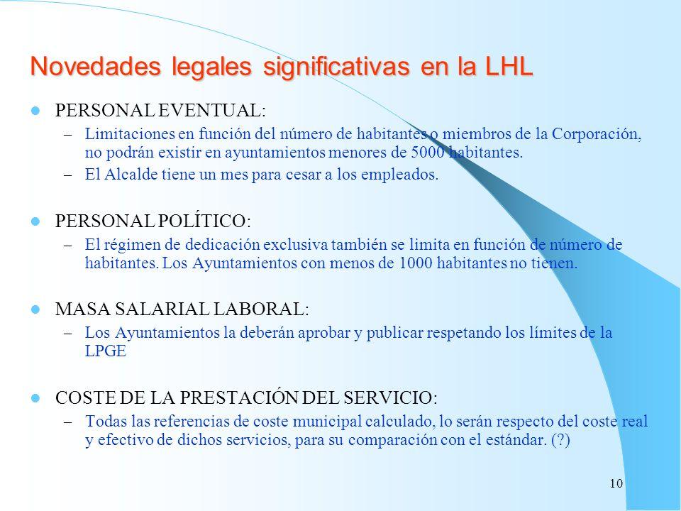 Novedades legales significativas en la LHL