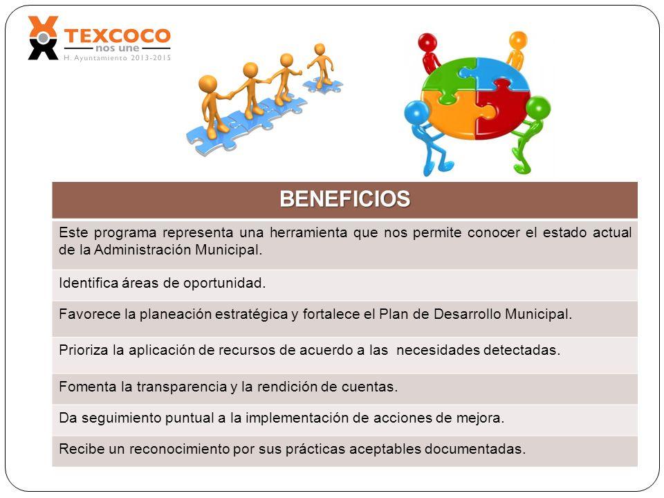 BENEFICIOS Este programa representa una herramienta que nos permite conocer el estado actual de la Administración Municipal.