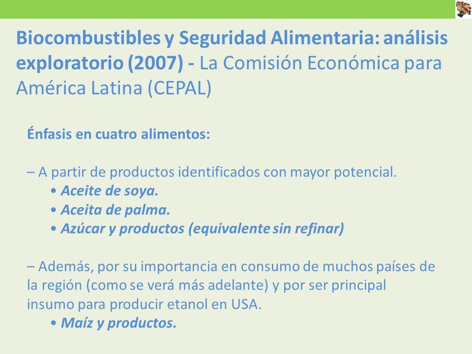 Biocombustibles y Seguridad Alimentaria: análisis exploratorio (2007) - La Comisión Económica para América Latina (CEPAL)