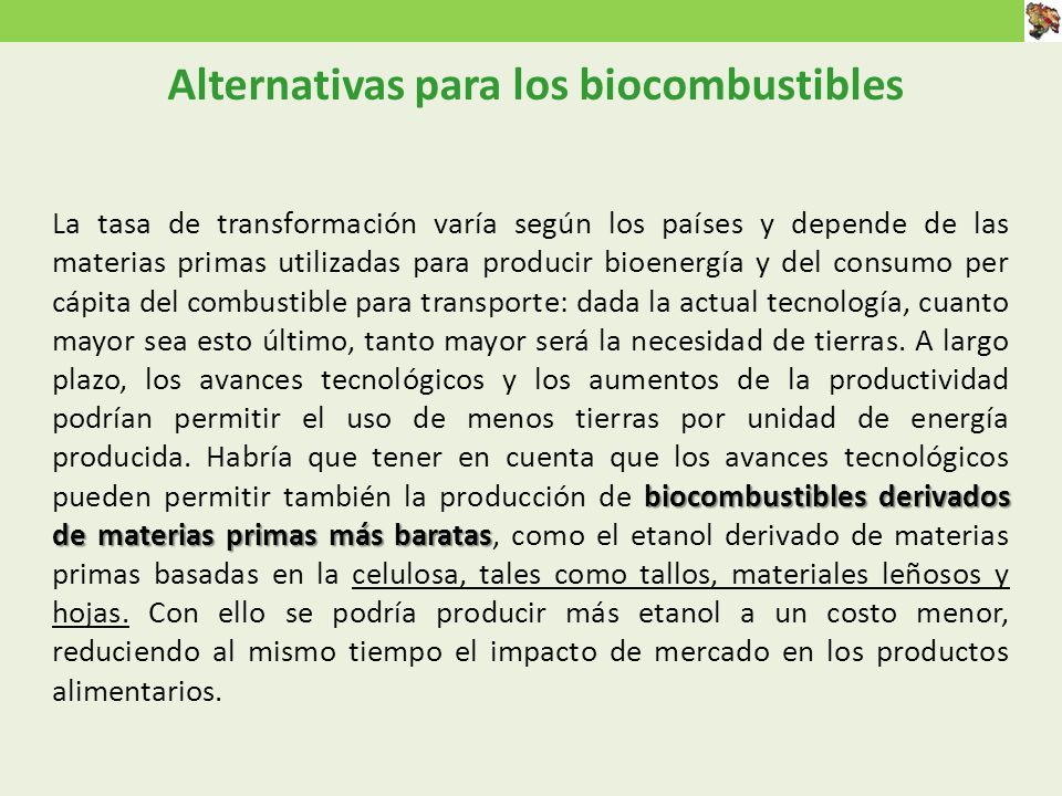 Alternativas para los biocombustibles