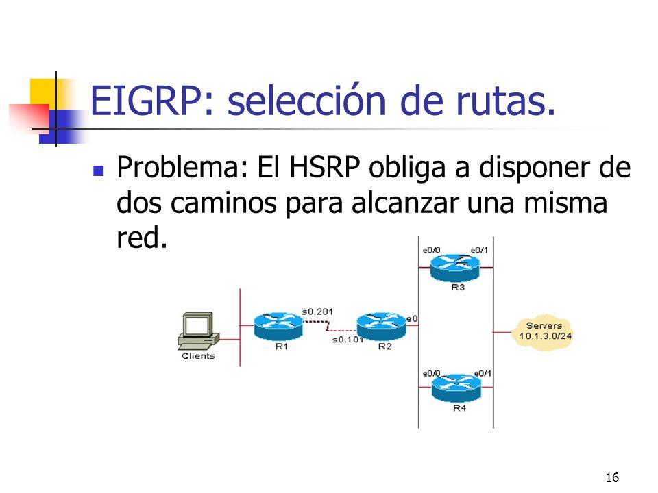 EIGRP: selección de rutas.