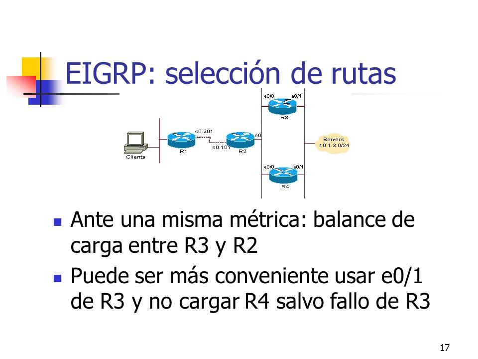 EIGRP: selección de rutas