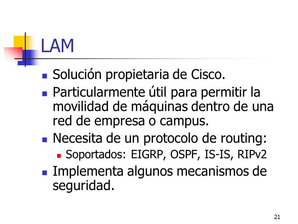 LAM Solución propietaria de Cisco.