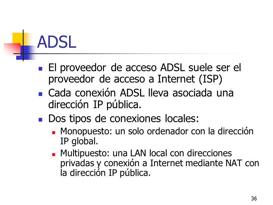 ADSL El proveedor de acceso ADSL suele ser el proveedor de acceso a Internet (ISP) Cada conexión ADSL lleva asociada una dirección IP pública.