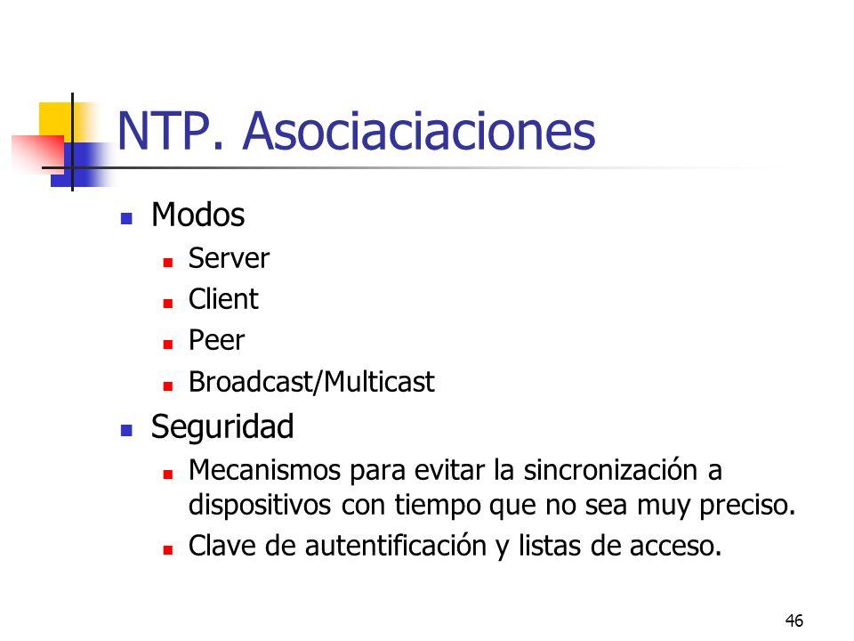 NTP. Asociaciaciones Modos Seguridad Server Client Peer