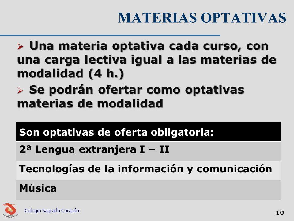 MATERIAS OPTATIVAS Una materia optativa cada curso, con una carga lectiva igual a las materias de modalidad (4 h.)