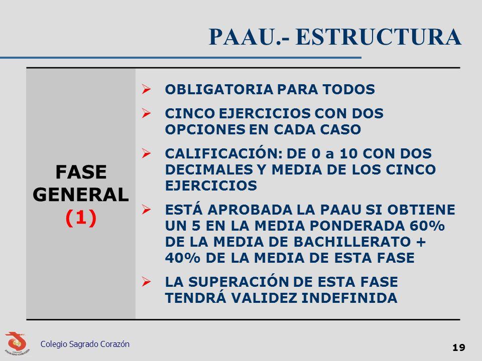 PAAU.- ESTRUCTURA FASE GENERAL (1) OBLIGATORIA PARA TODOS