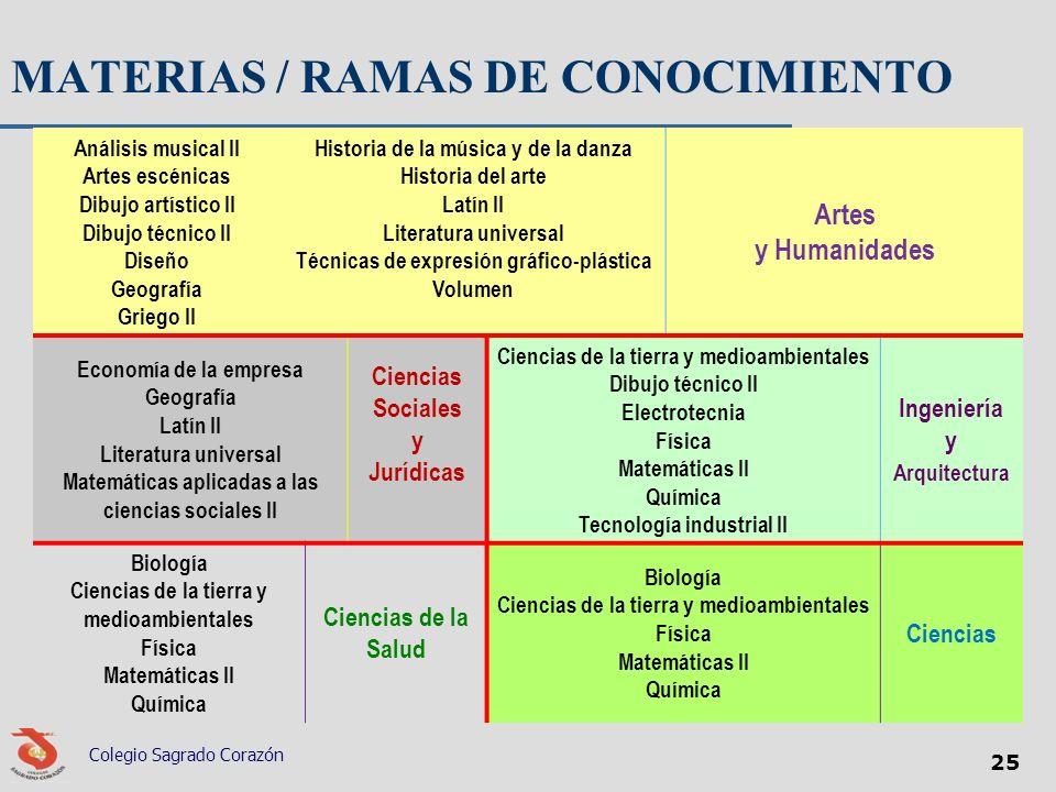 MATERIAS / RAMAS DE CONOCIMIENTO