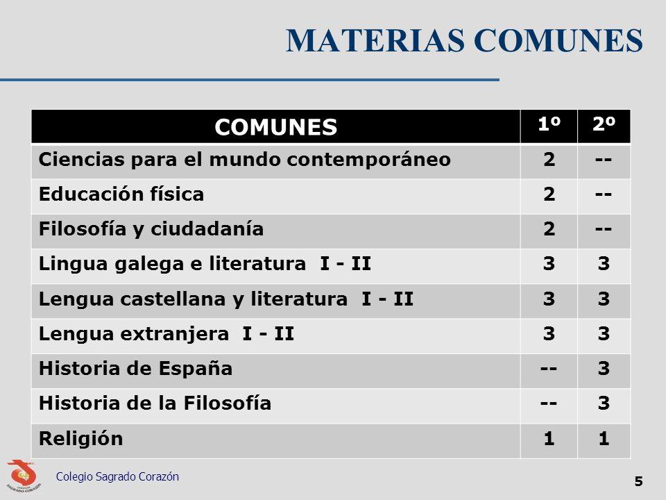 MATERIAS COMUNES COMUNES 1º 2º Ciencias para el mundo contemporáneo 2