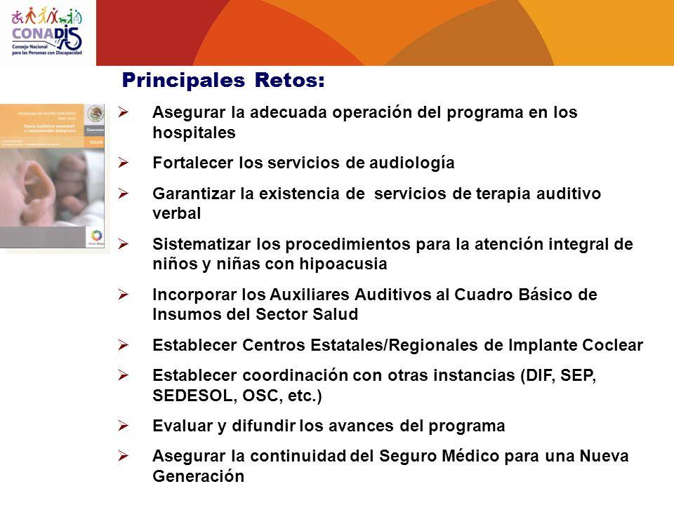 Principales Retos: Asegurar la adecuada operación del programa en los hospitales. Fortalecer los servicios de audiología.