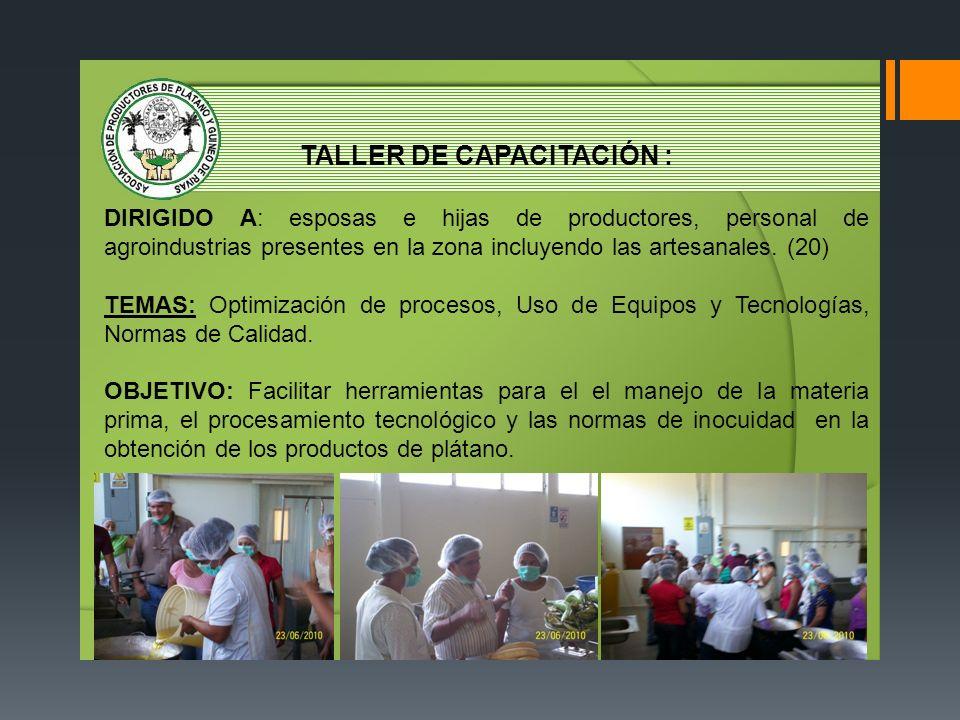 TALLER DE CAPACITACIÓN :