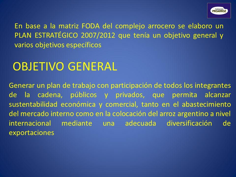 En base a la matriz FODA del complejo arrocero se elaboro un PLAN ESTRATÉGICO 2007/2012 que tenía un objetivo general y varios objetivos específicos