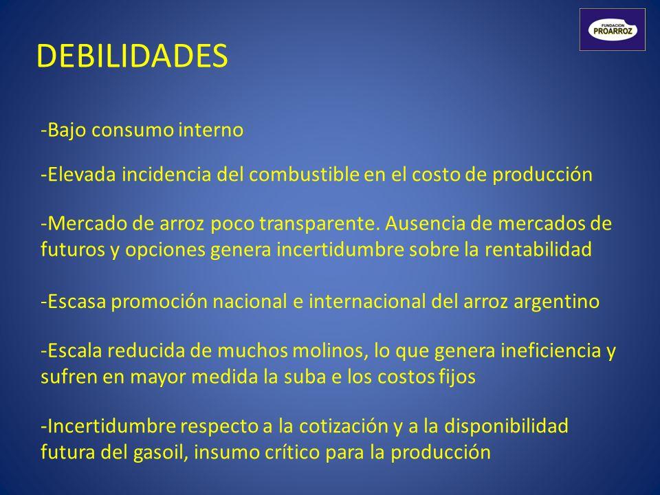 DEBILIDADES Bajo consumo interno